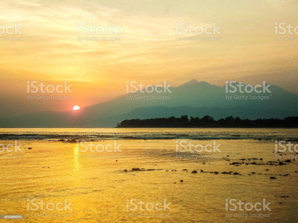 Lombok sunrise stock photo