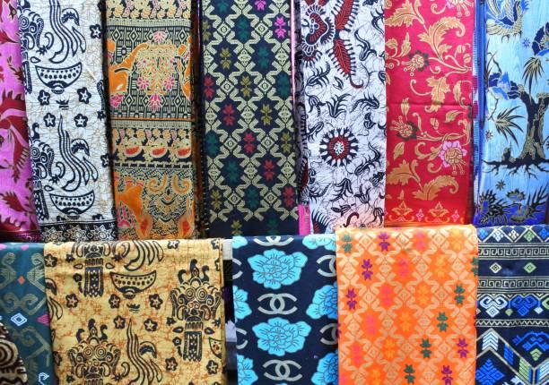 lombok typical batik - kente cloth stock photos and pictures