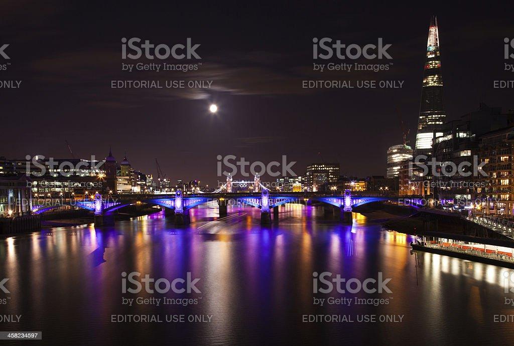 London  2012, floodlit bridges, Olympic rings on the Tower bridge stock photo