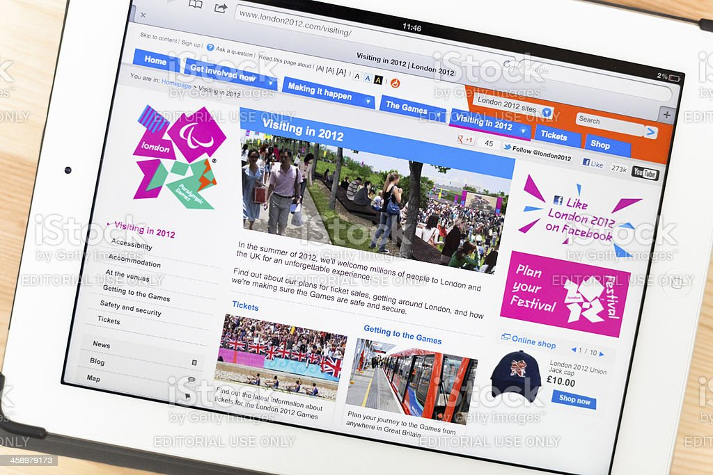 London 2012 Olympic Games on iPad royalty-free stock photo
