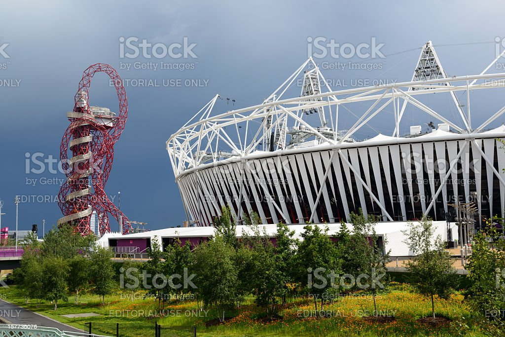 London 2012 Olympic Stadium and The Orbit royalty-free stock photo