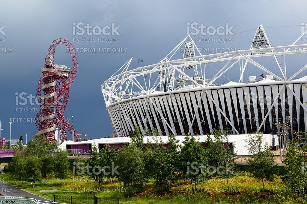 London 2012 Olympic Stadium and The Orbit stock photo