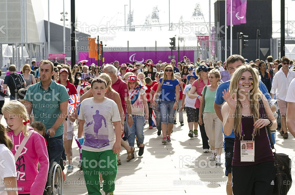 London 2012 Paralympic spectators leaving the park stock photo