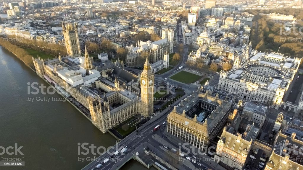 London Aerial Cityscape with Landmarks Thames, Big Ben Clock Tower stock photo