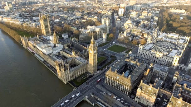 London Aerial Cityscape with Landmarks Thames, Big Ben Clock Tower London Aerial Cityscape with Landmarks including the Thames, Big Ben Clock Tower and Parliament, Palace, Portcullis House and Westminster Square Garden city of westminster london stock pictures, royalty-free photos & images