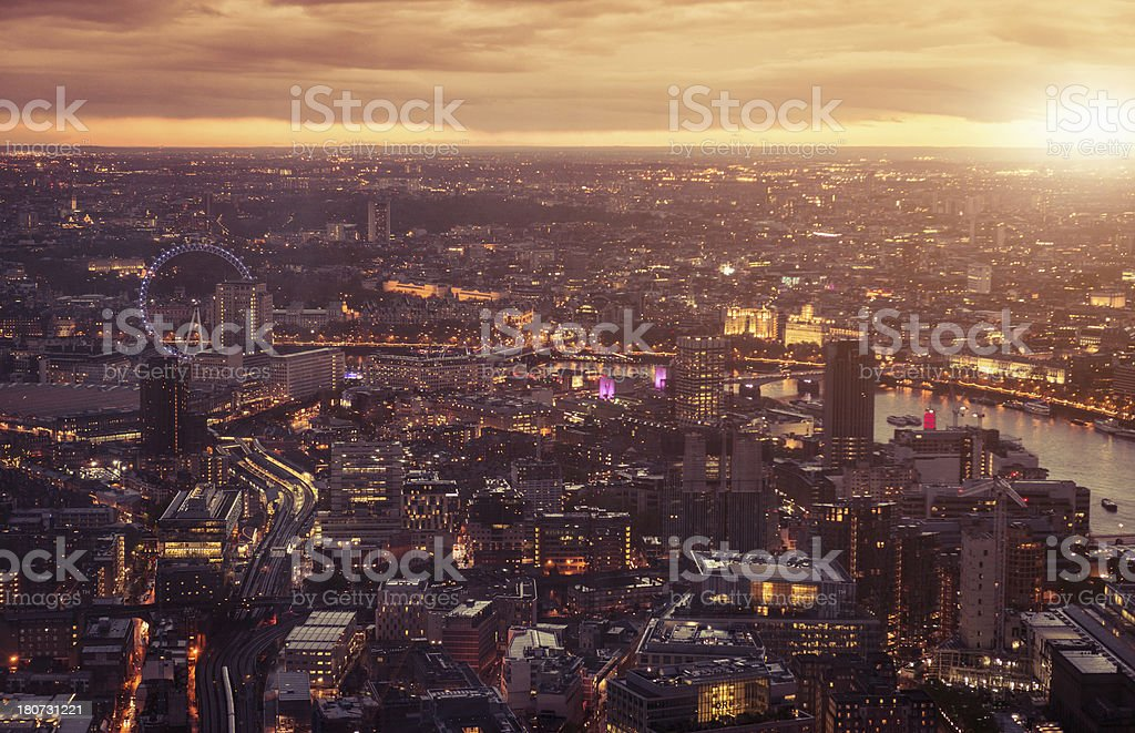 London aerial view at sunset royalty-free stock photo