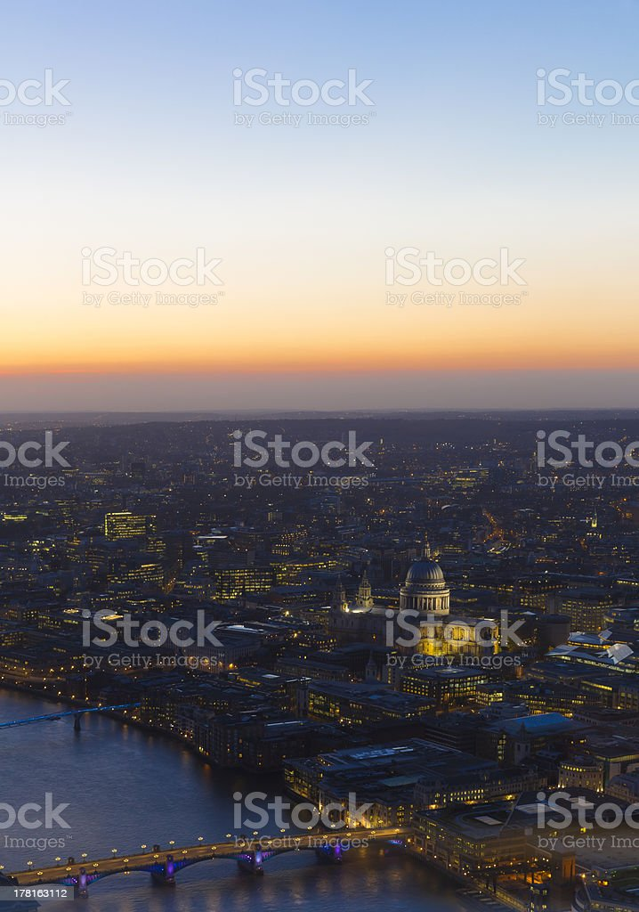 London Aerial View of St Paul's Cathedral and River Thames royalty-free stock photo