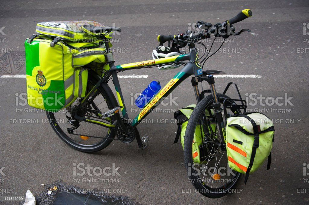 London Ambulance Cycle Response Unit on the Street stock photo