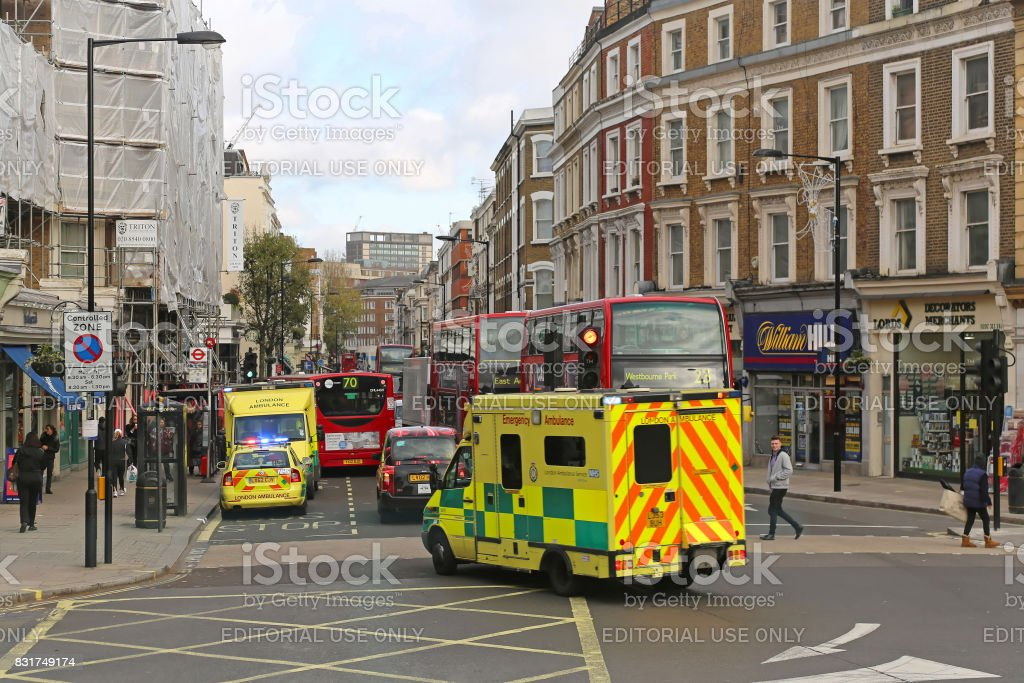 London ambulance stock photo