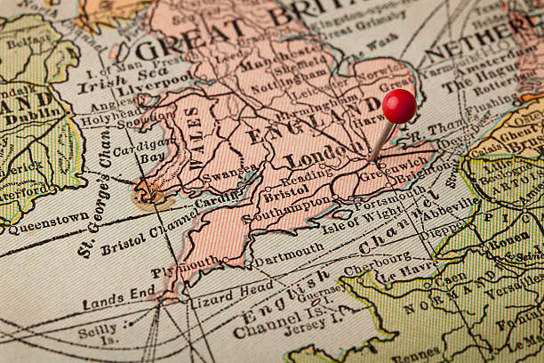 london and england vintage map - english channel stock pictures, royalty-free photos & images
