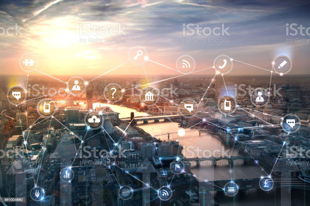 London and river Thames at sunset. Illustration with communication and business icons, network connections concept. stock photo