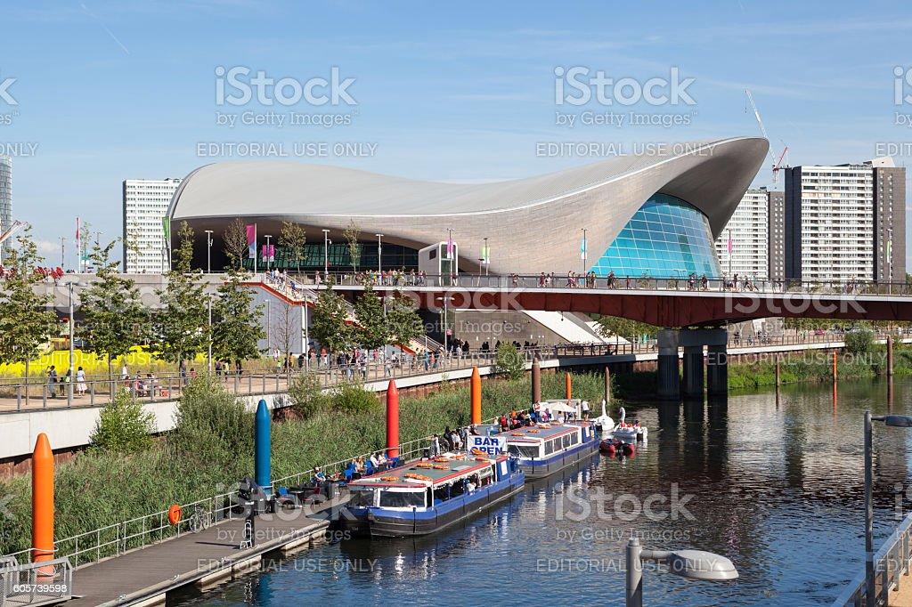 London Aquatics Centre and Lea Valley. stock photo