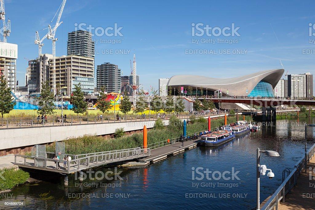 London Aquatics Centre and The International Quarter stock photo