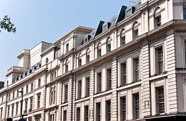 London Architecture:  Classic Fassade in Sunny Afternoon London Architecture: Mayfair Classic Fassade in Sunny AfternoonRELEVANT LIGHTBOXES LONDON + NYC mayfair stock pictures, royalty-free photos & images