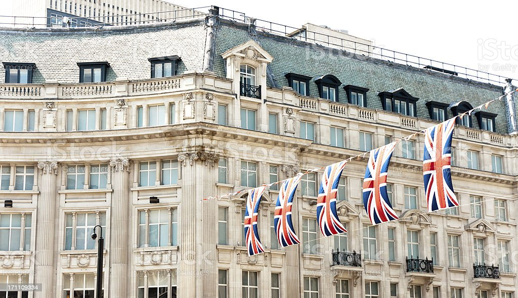 london architecture: union jack flags for the queen's diamond jubilee stock photo