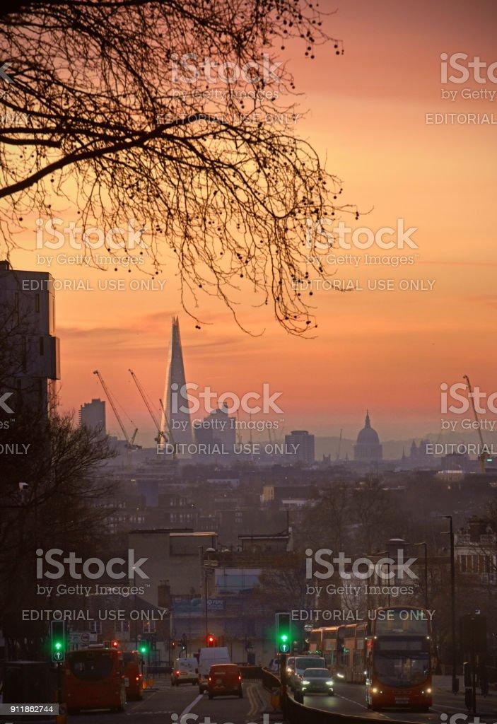 London Archway dawn stock photo