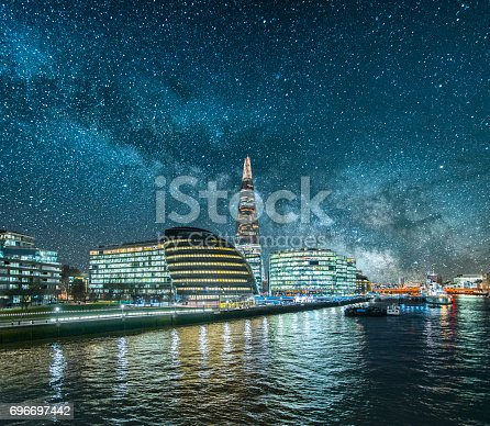 A beautiful image featuring skyscrapers in London and their reflection on the thames river under the milky way