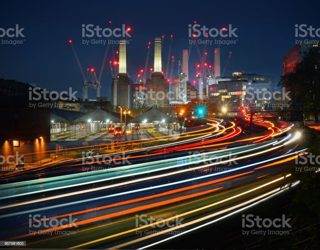 London Battersea and railway stock photo