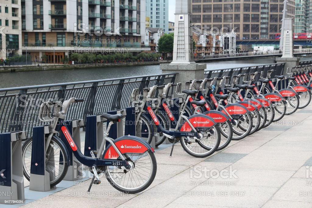 London bicycle hire stock photo