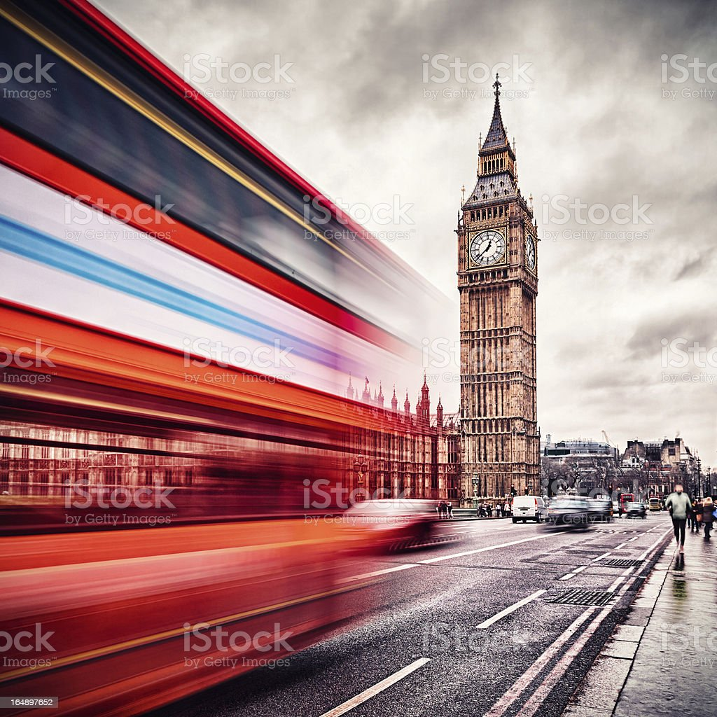 London Big Ben and traffic on Westminster Bridge royalty-free stock photo