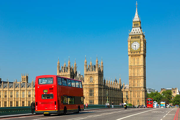 London Big Ben und Verkehr an der Westminster Bridge – Foto