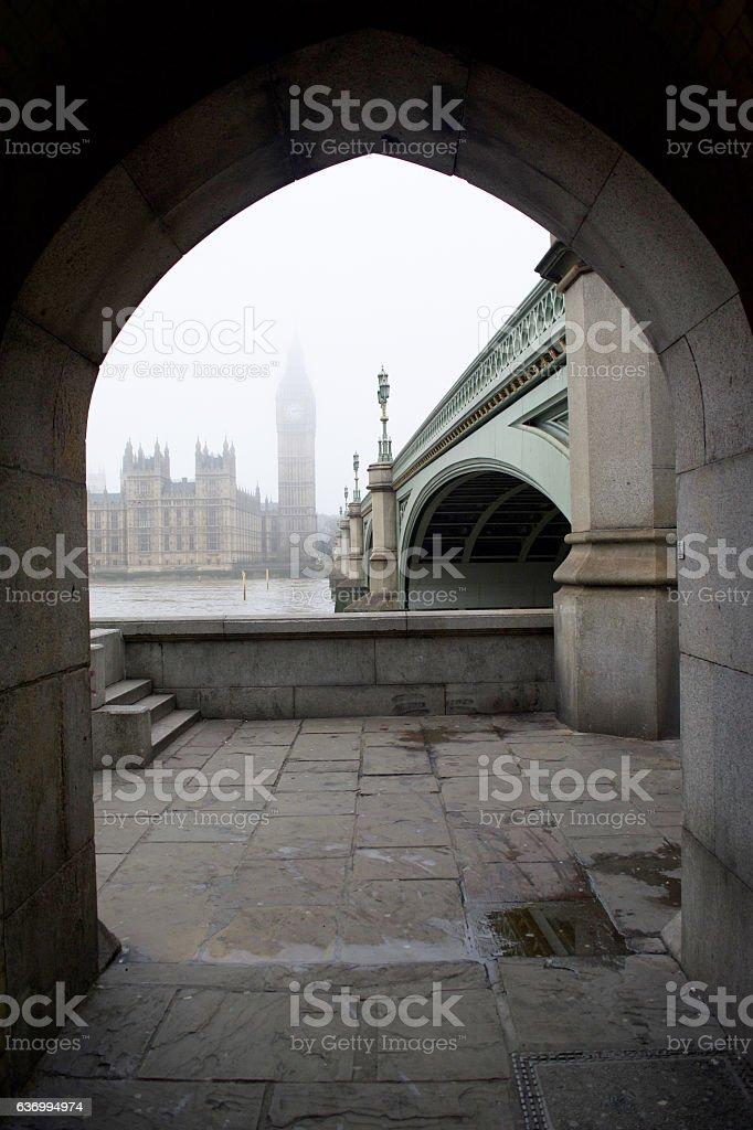 London Big Ben Fog stock photo