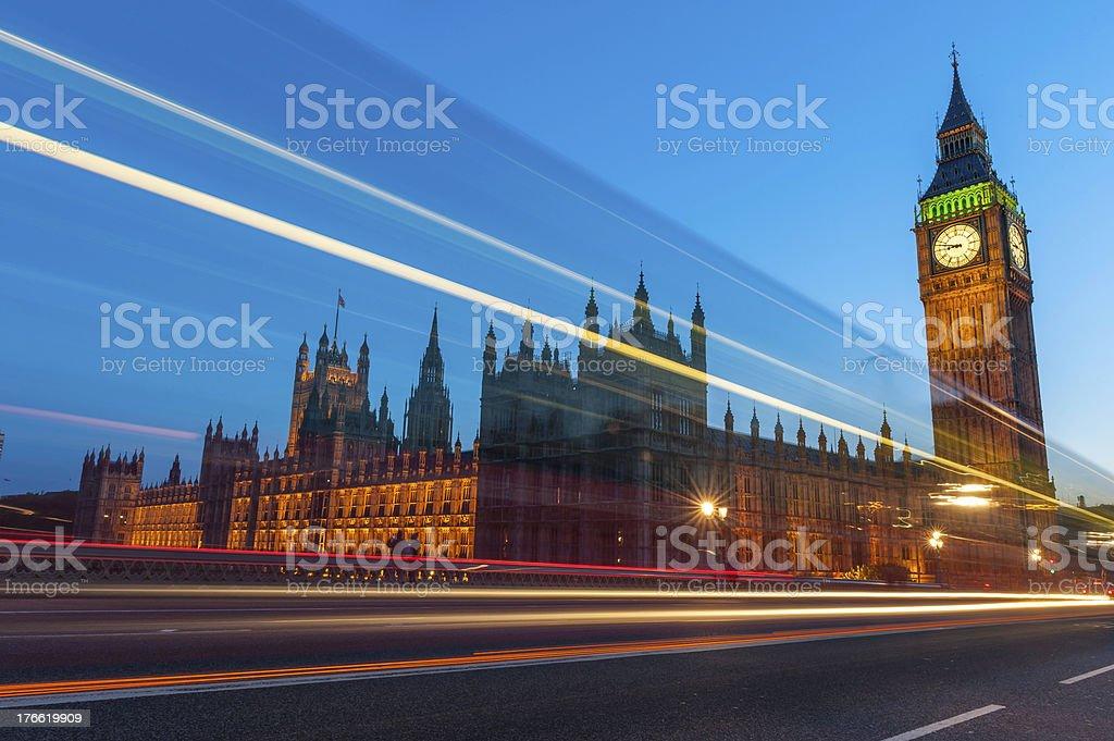 London Big Ben Parliament traffic zooming across Westminster Bridge UK royalty-free stock photo