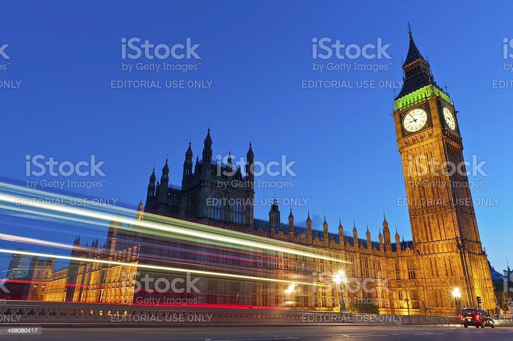London Big Ben traffic zooming across Westminster Bridge royalty-free stock photo