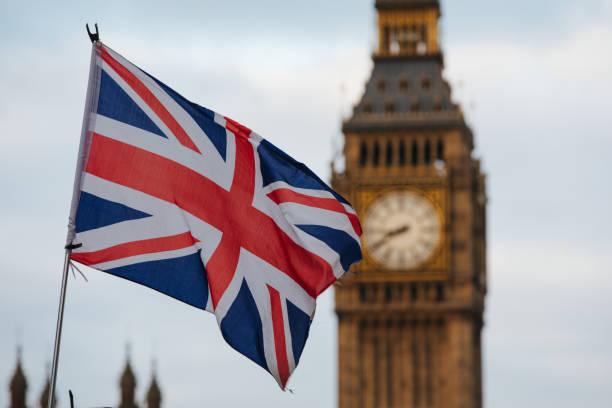 런던 빅 벤 웨스트민스터 - 영국 국기 뉴스 사진 이미지