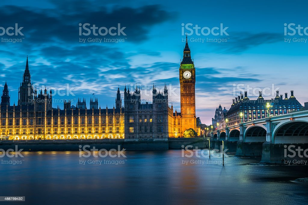 London bigben at night, UK, United Kingdom stock photo
