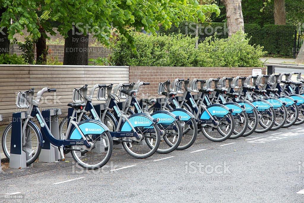 London bike sharing stock photo