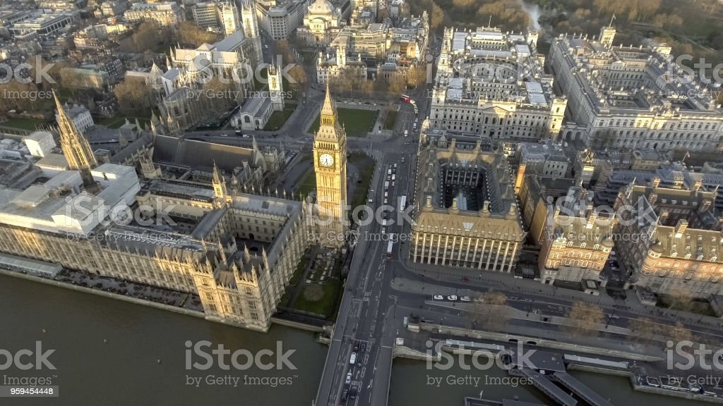 London Bird View of Houses of Parliament and Big Ben stock photo