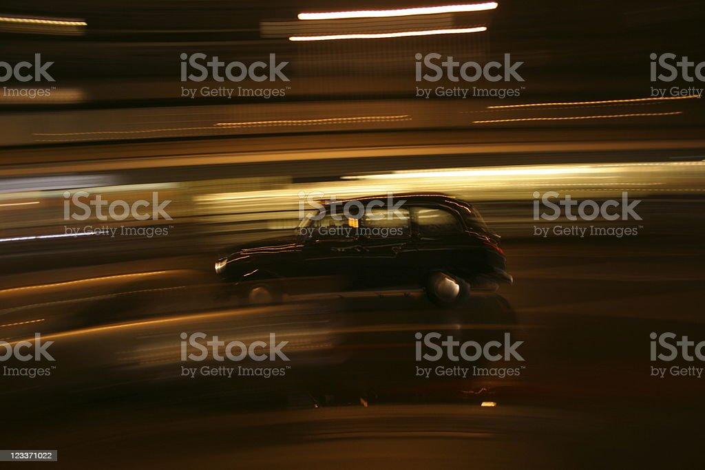 London Black Cab with motion blur stock photo