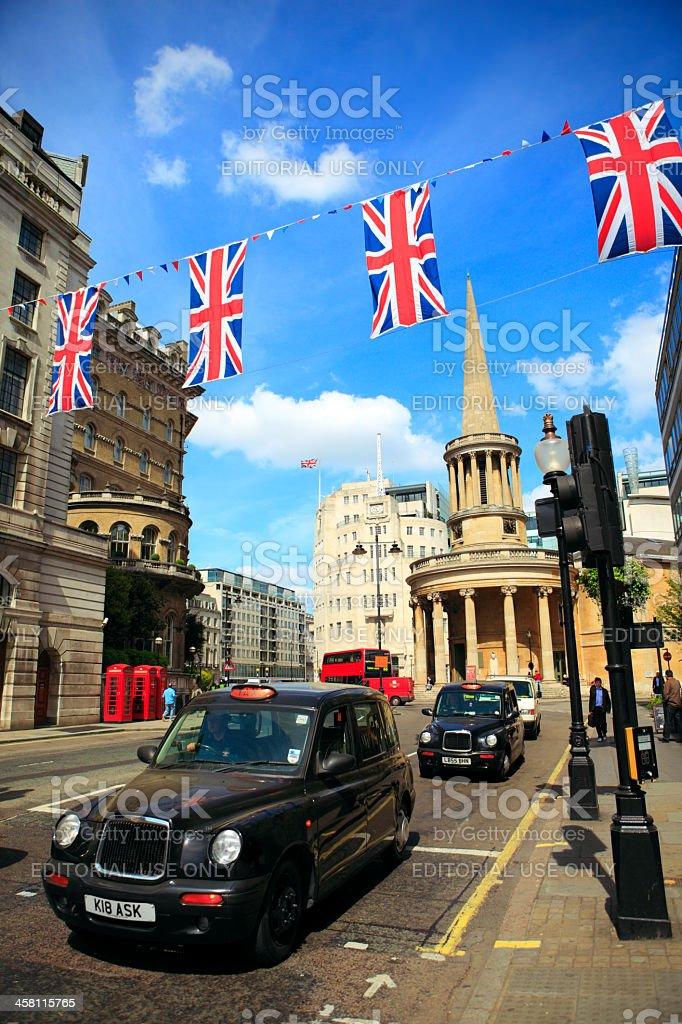 London Black Cabs on Regent St. stock photo