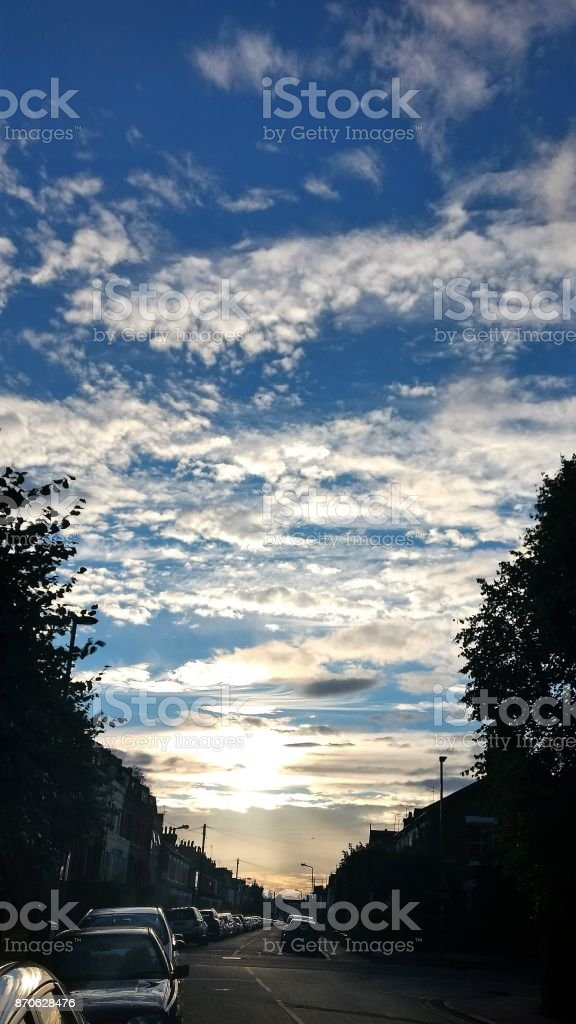 London - Blue sky in Barnet stock photo