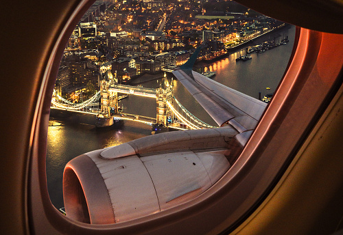 istock London bridge aerial view from the porthole 585626202