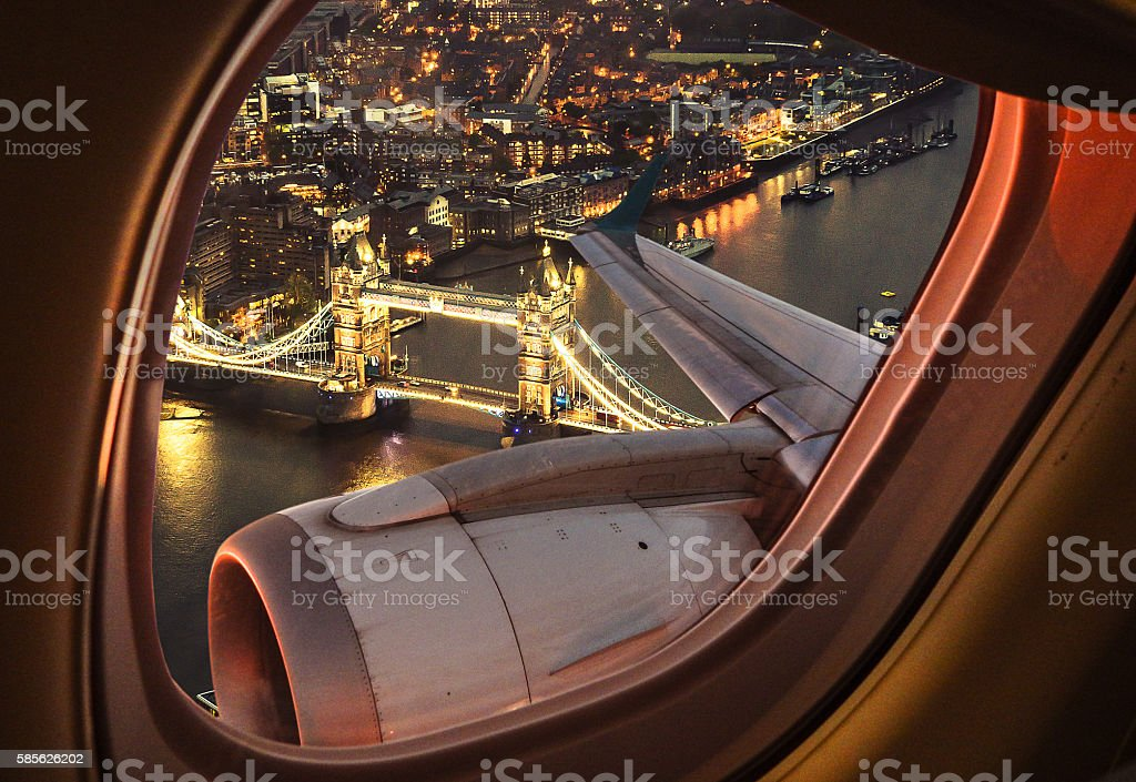 London bridge aerial view from the porthole stock photo