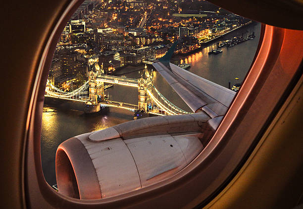 london bridge aerial view from the porthole - travel destinations stock photos and pictures