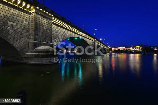 London Bridge is a bridge in Lake Havasu City, Arizona, United States. It is a relocated 1831 bridge that formerly spanned the River Thames in London, England, until it was dismantled in 1967. The Arizona bridge is a reinforced concrete structure clad in the original masonry of the 1830s bridge, which was bought by Robert P. McCulloch from the City of London. McCulloch had exterior granite blocks from the original bridge numbered and transported to America to construct the present bridge in Lake Havasu City, a planned community he established in 1964 on the shore of Lake Havasu. The bridge was completed in 1971 (along with a canal), and links an island in the Colorado River with the main part of Lake Havasu City.