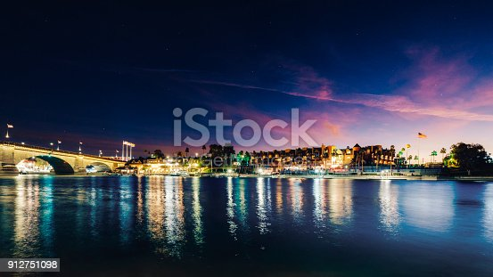 A sunrise view of the London Bridge on the Colorado River in Lake Havasu City, Arizona.
