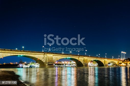 A sunset view of the London Bridge on the Colorado River in Lake Havasu City, Arizona.