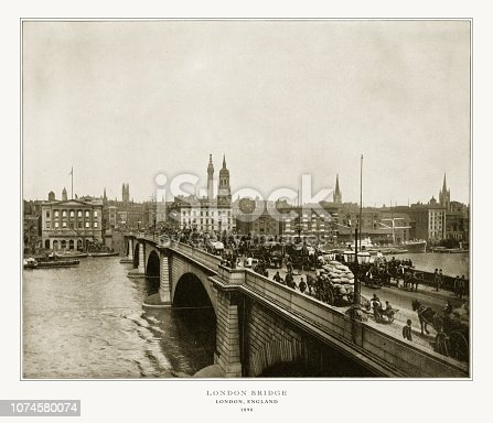 Antique London Photograph: London Bridge, London, England, 1893. Source: Original edition from my own archives. Copyright has expired on this artwork. Digitally restored.