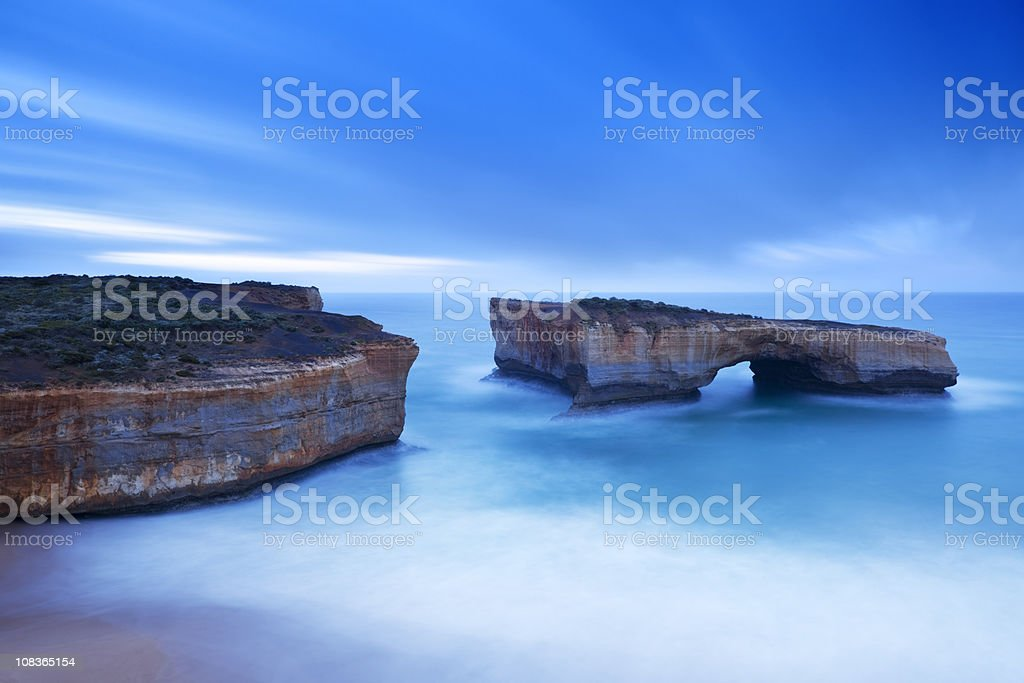 London Bridge on the Great Ocean Road, Australia at dawn stock photo