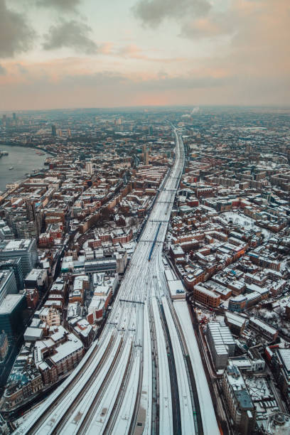 London Bridge station from above under snow stock photo
