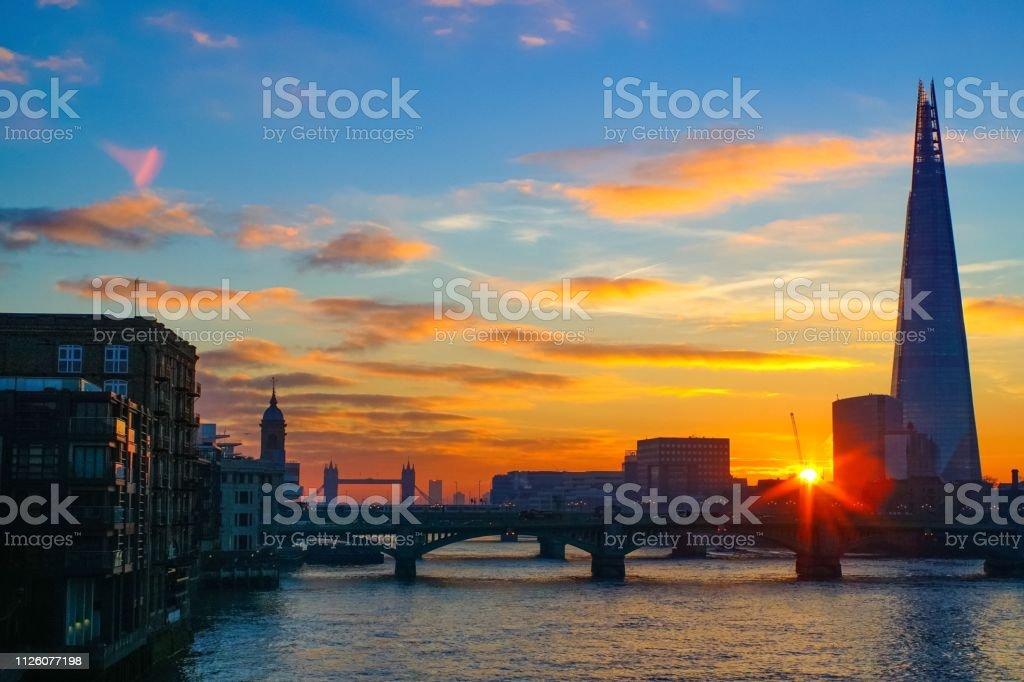 London bridges on the river Thames at sunrise stock photo