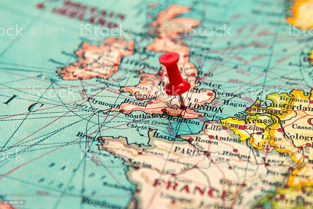 London Britain Uk Pinned On Vintage Map Of Europe Stockfoto und mehr on
