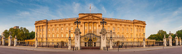 London Buckingham Palace iconic Royal landmark golden dawn light UK stock photo