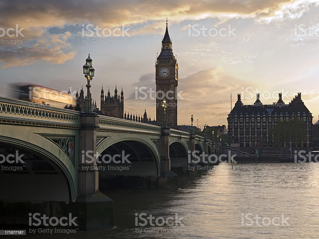 London bus and Big Ben in sunset stock photo