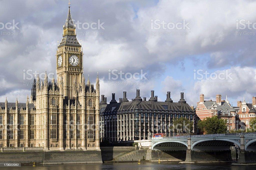London bus and Big Ben, westminster bridge royalty-free stock photo