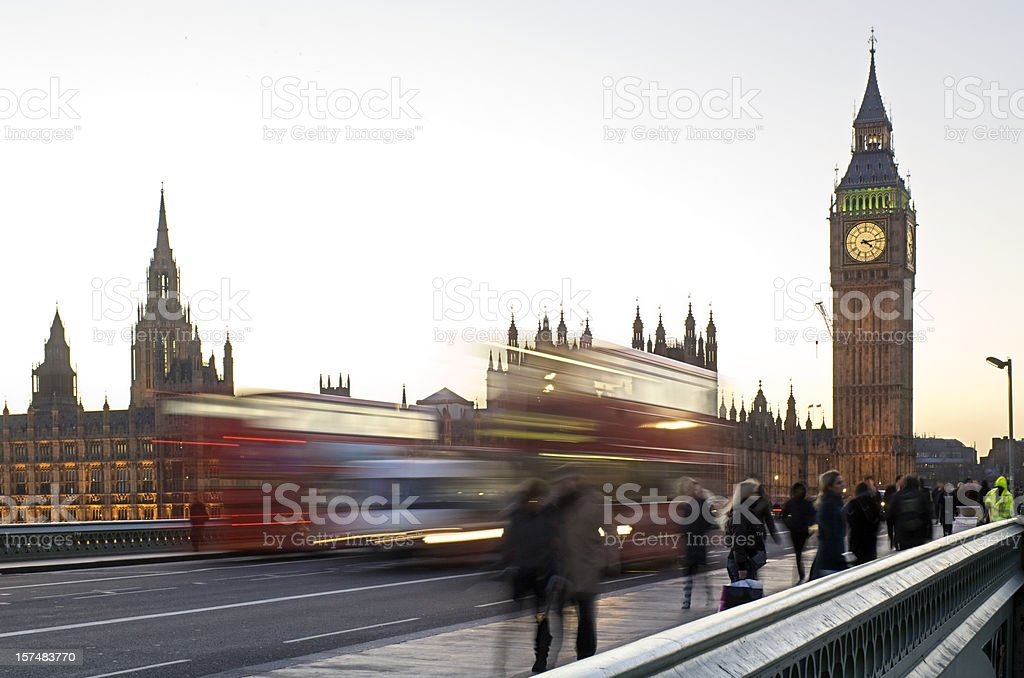 London bus and Big Ben with movement blur royalty-free stock photo